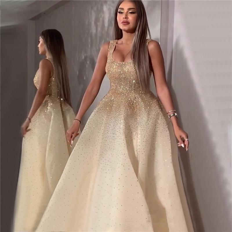 Dubai Champange cristallo / bordare A-Line Prom Dresses design senza maniche abito da sera formale elegante sexy del partito di promenade di lusso