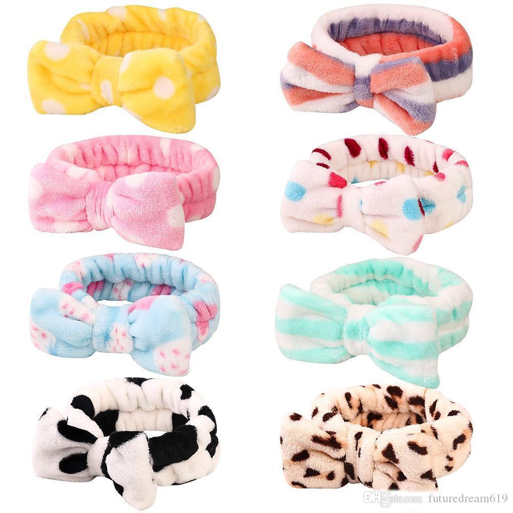 fleece bebê meninas Coral Bow Headbands Mulheres que banham Lavar o rosto Maquiagem Plush Hairbands Acessórios de cabelo Turbon 22 Cores Mantilha