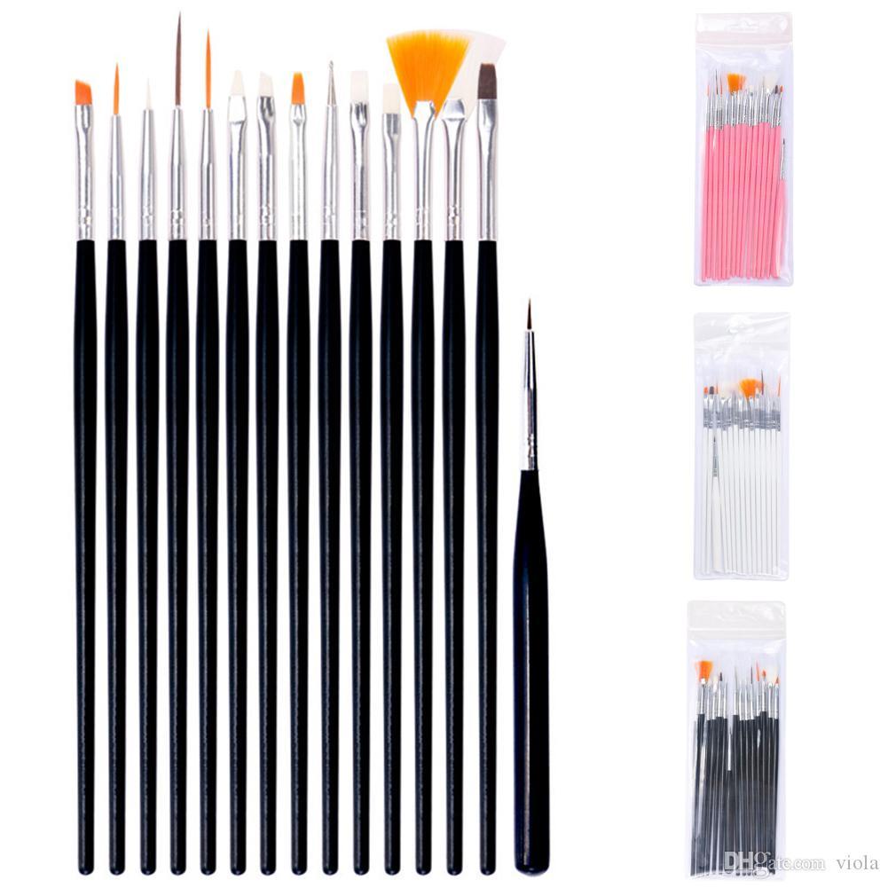 15pcs UV Gel Pluma Cepillo sistema de herramienta Nail Brush Ombre para la manicura dibujo de punto de pluma Pen pintura