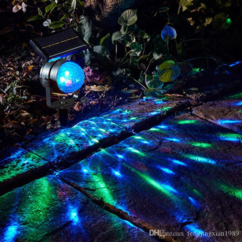 LED Solar Projection Garden Lawn Solar Lamp Outdoor Decoration Colorful Rotating Waterproof Bulb Home Solar LED Light