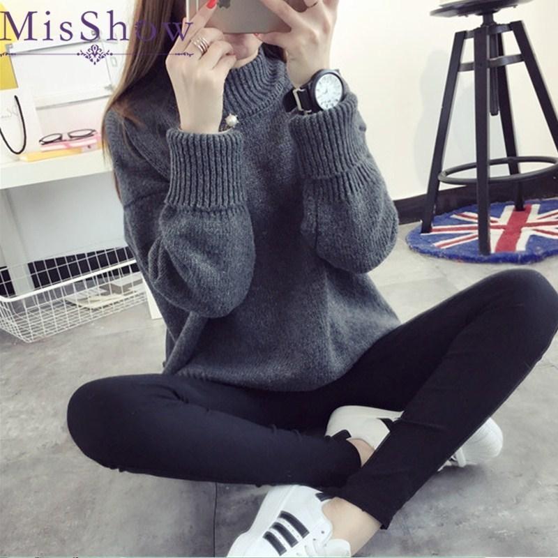 maglione high-collare delle donne di alta collare, maniche lunghe maglione delle donne high-point, maglione invernale a maniche lunghe