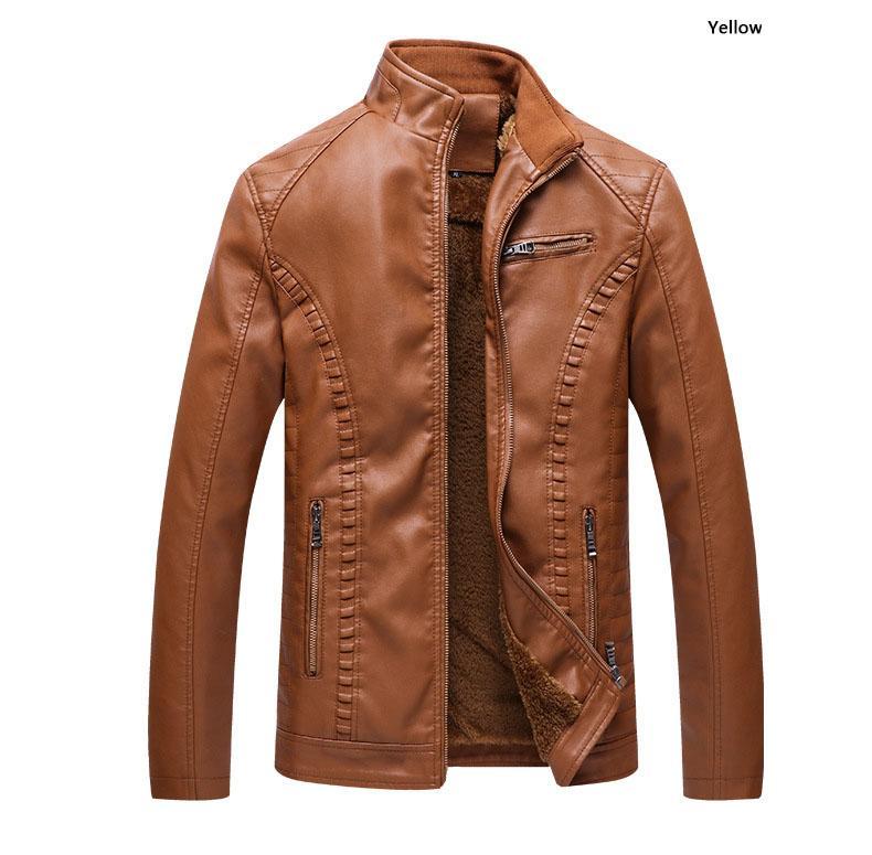 Herren Lederbekleidung Motorrad leathe dünne Jacke Mensentwerfer Jacken plus Samt warme Leder PU-Lederjacke