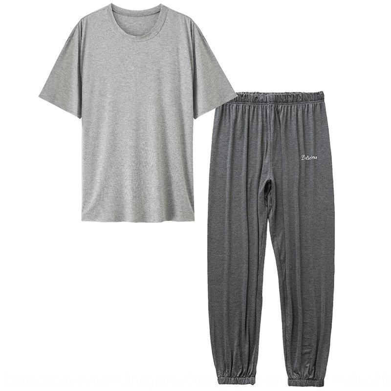 De duas peças calças masculinas modais pijamas de verão fina em casa roupas casuais calças Suit casa roupas de casa terno pode sair