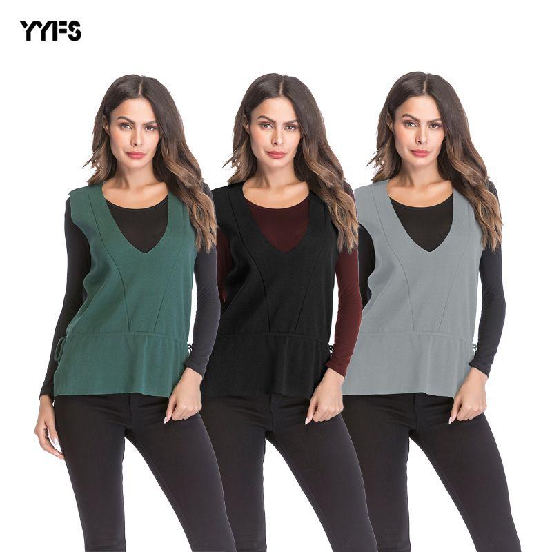 Womens venda quente outono inverno moda malha colete colete solto v-pescoço blusa da senhora camisa de malha menina camisola de lã