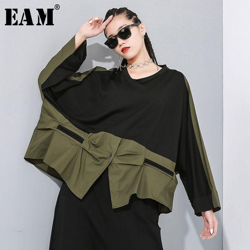 [EAM] женщины зеленый контрастный цвет большой размер асимметричная футболка новый круглый вырез с длинным рукавом мода прилив весна осень 2020 1N19 Y200412