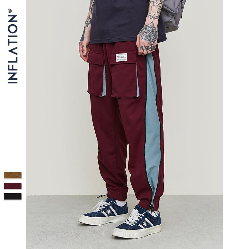 INFLATION Homens Calças Streetwear Blusão Calças 2019 Outono Inverno Novo Hip Hop Moletom Cor Ponto Pantalon Homme 9356S