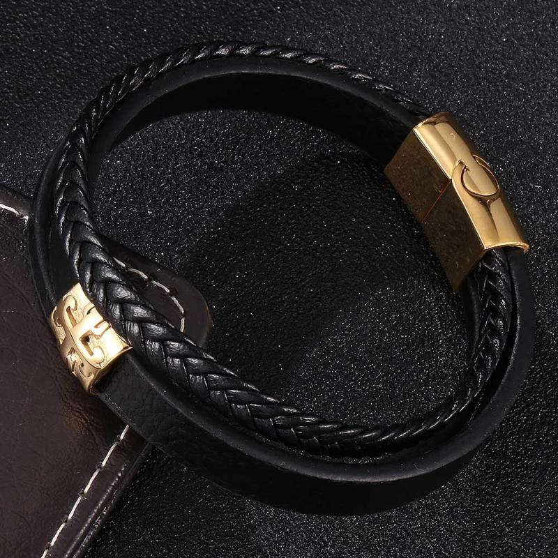 Fashion Multilayer Black Leather Bracelet Men Golden Accessories Stainless Steel Magnetic Buckle Charm Bangles Women Wrist Band