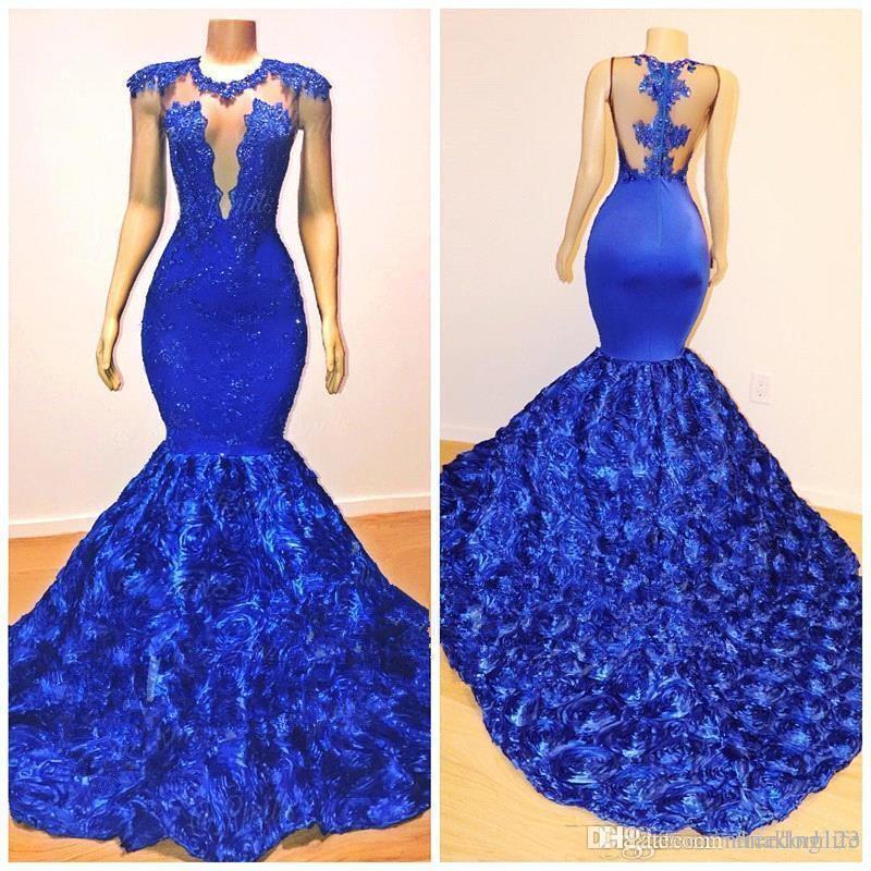 African Royal Blue Русалка Пром платья 2020 Rose Цветы Длинные Поезд стреловидности Sheer шеи аппликация бисер Pageant платье вечерние платья ogstuff