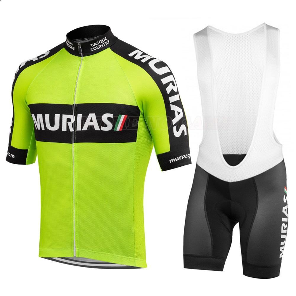2020 새로운 프로 사이클링 팀 저지 세트 남성 짧은 소매 녹색 Ciclismo 자전거 경주 의류 Bib 젤 통기성 패드 반바지 Ropa de Hombre