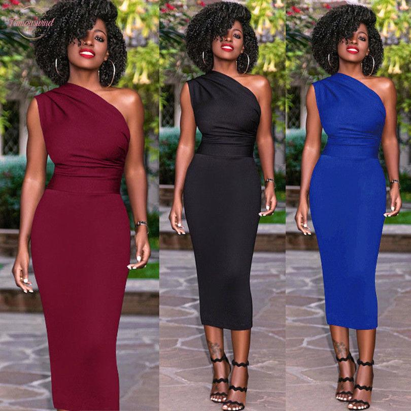 Sexy Women Summer Dress Sleeveless One Shoulders Bodycon Casual Pencil Dresses Party Evening Midi Dress Mid Calf Formal Dress
