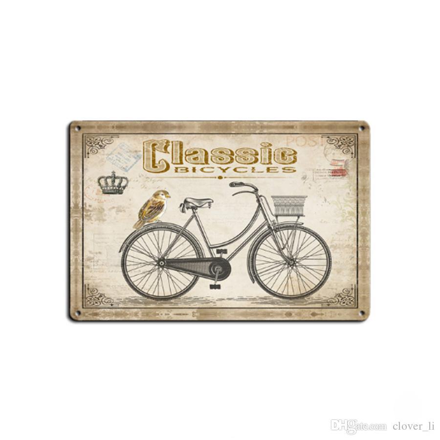 4 estilos Placa Retro Da Bicicleta de Metal Motor Do Vintage Artesanato Sinal Da Lata Retro Metal Pintura Poster Bar Pub Arte Da Parede Decoração Da Arte Fotos 20 * 30 cm