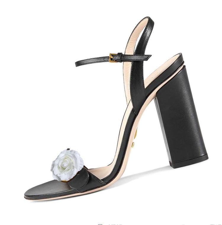 Chaussures à talons sandales avec boîte 10cm cuir rugueux sandales casual talon en caoutchouc grossier Semelle
