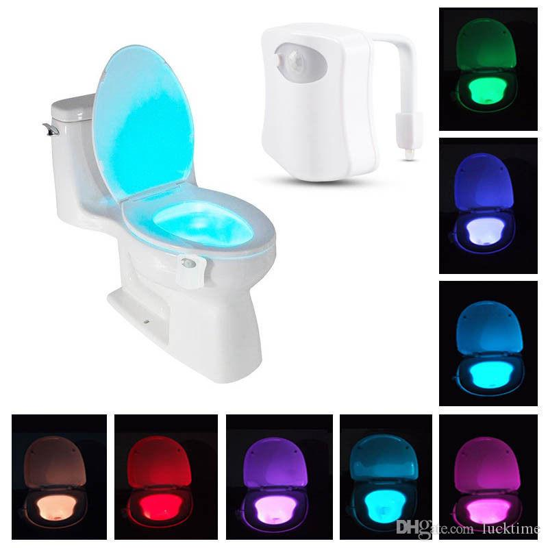 Sensor de movimiento inteligente Sensor de inodoro Asiento de inodoro Luz de noche 8 colores Retroiluminación impermeable para el inodoro LED Luminaria Lámpara WC Light Ligh