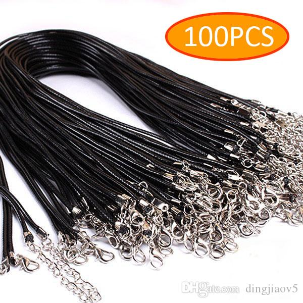 100pcs/Lot Black Braided Imitation Leather Cord Rope for Necklace Bracelet with Lobster Claw Necklace Chain DIY Jewelry Making Rope 19 inche