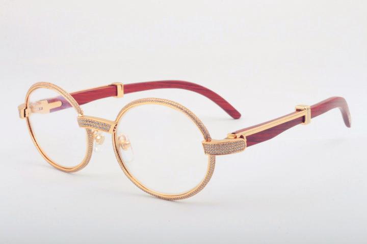 Wholesale-free Verschiffen natürliche hölzerne Bügelgläser 7550178 Qualitätssonnenbrille-voller Rahmen-Diamant-Glasrahmengröße 55 -22-135mm