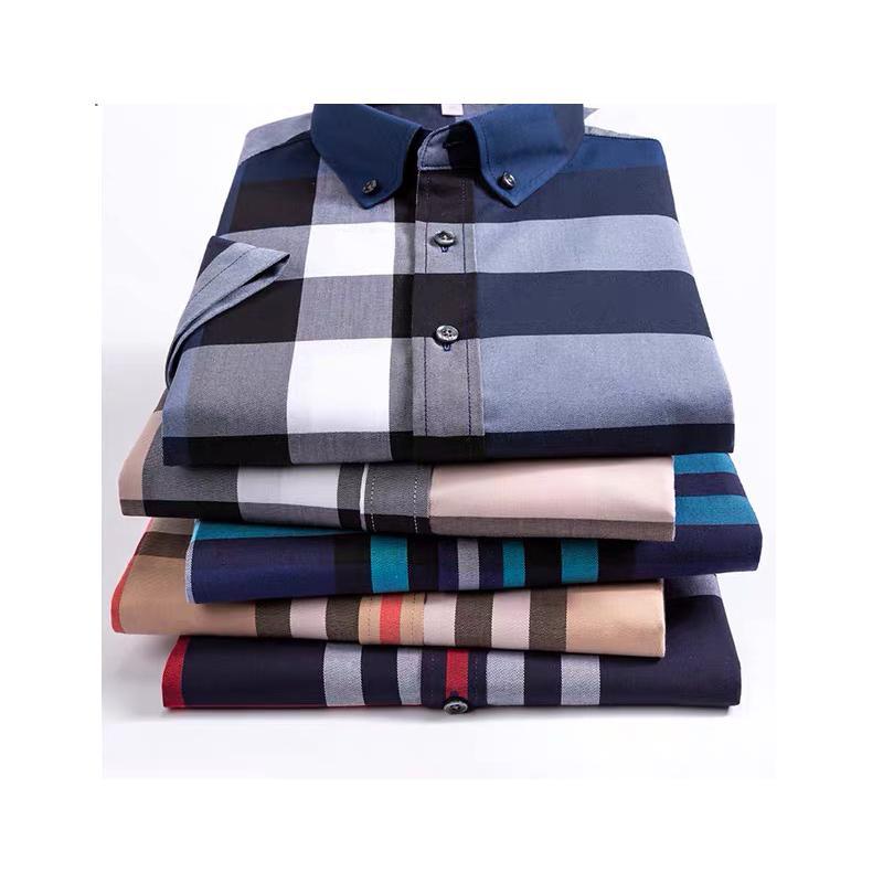 Mens Fashion Clothing New 100% cotton t Shirt Men short Sleeve Slim Fit Dress plaid Shirt