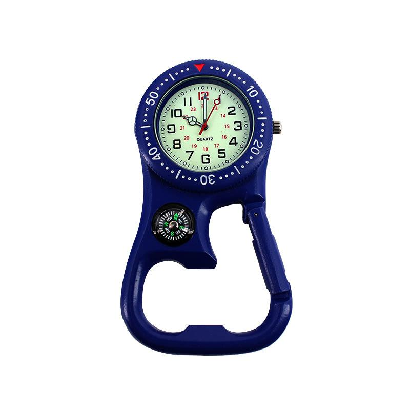 Newly 1 Pcs Clip-On Carabiner Pocket Watch Compass Bottle Opener for Doctors Chefs Luminous