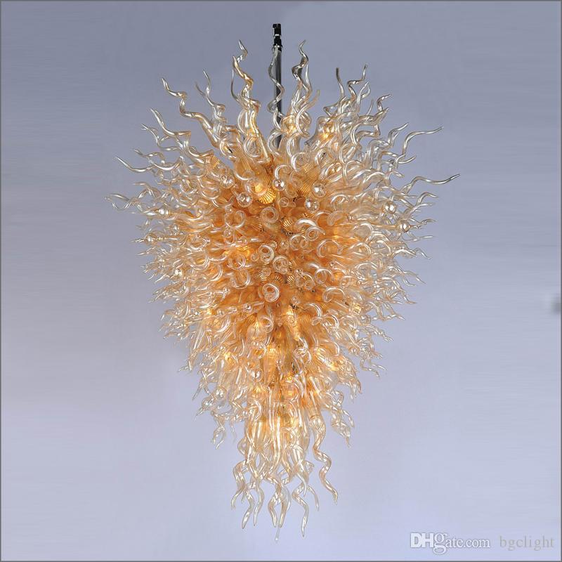 Mode LED moderne Lustre Garantie verre coloré Blown Livraison gratuite AC Led Showroom Hall Lampes en verre coloré