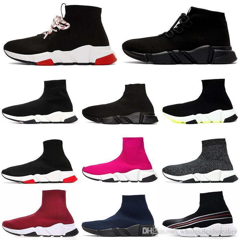 cheville formateur chaussures chaussette vitesse design casual boot à lacets Flat Triple Noir White Glitter Runner plate-forme pour hommes femmes sport Chaussures de sport 36-45