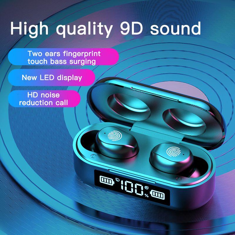 TWS f9-6 سماعات الأذن اللاسلكية مع عرض الصمام السلطة ستيريو HD الرياضة لاسلكية سماعات بلوتوث سماعات صغيرة الألعاب الرأس
