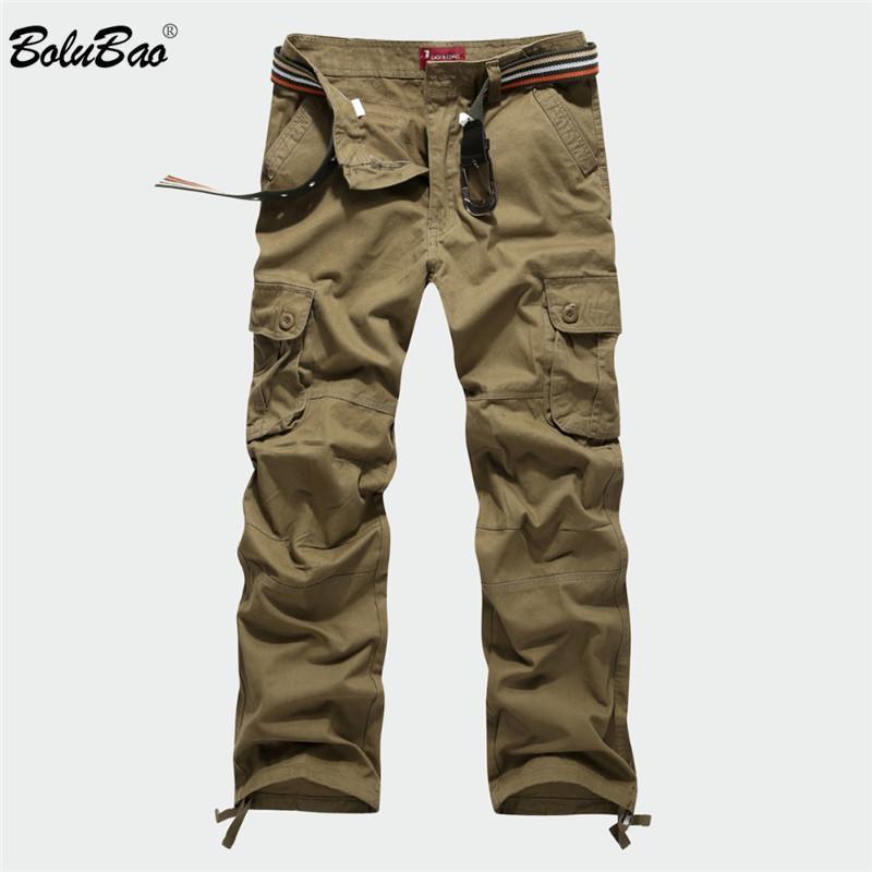 Bolubao New Cargo Multi tasche Militare Pantaloni mimetici Pantaloni da pista Pantaloni Pantaloni uomo elastico in vita SH190816