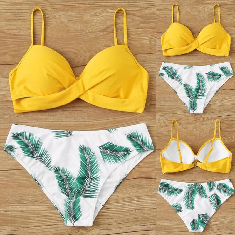 2020 di Bikini regolati delle donne sexy di modo Swimwear Foglia Stampa costumi da bagno a vita alta Spalato Swimwear del bikini per il vestito di bagno