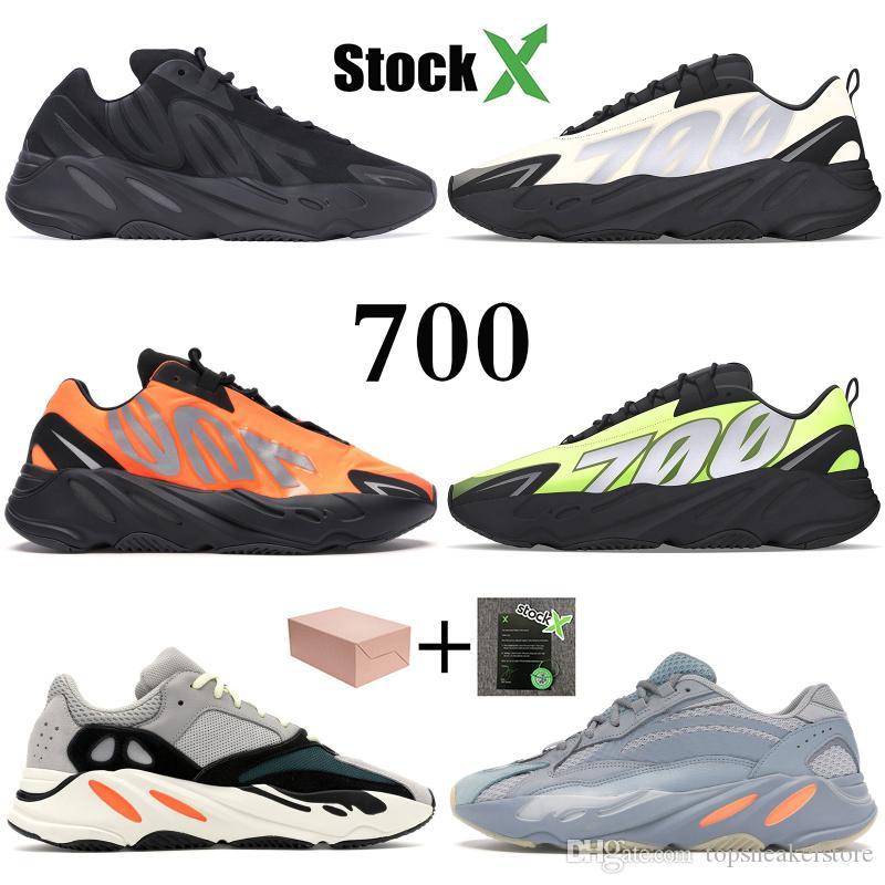 Naranja Kanye 700 reflectantes Tie-dye Triple negro Wave Runner gris sólido zapatos para correr carbono Imán azul zapatos estilista mujeres de los hombres zapatillas de deporte