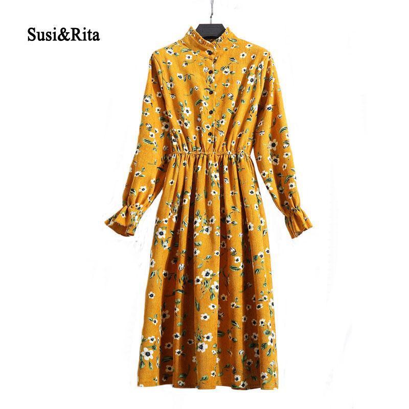 SusiRita Vintage Çiçek Baskı Sonbahar Elbise Kadınlar 2018 Uzun Kollu Parti Elbise Şık Bayanlar Kış Elbise vestidos Robe Femme