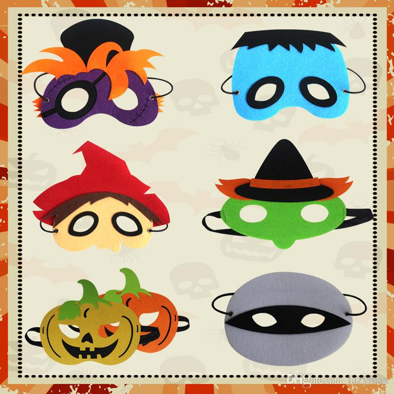 Halloween Cosplay Masks 8 Designs Kids Felt Pumpkin Masks Party Funny Performance Costume Accessories 50 Pieces DHL