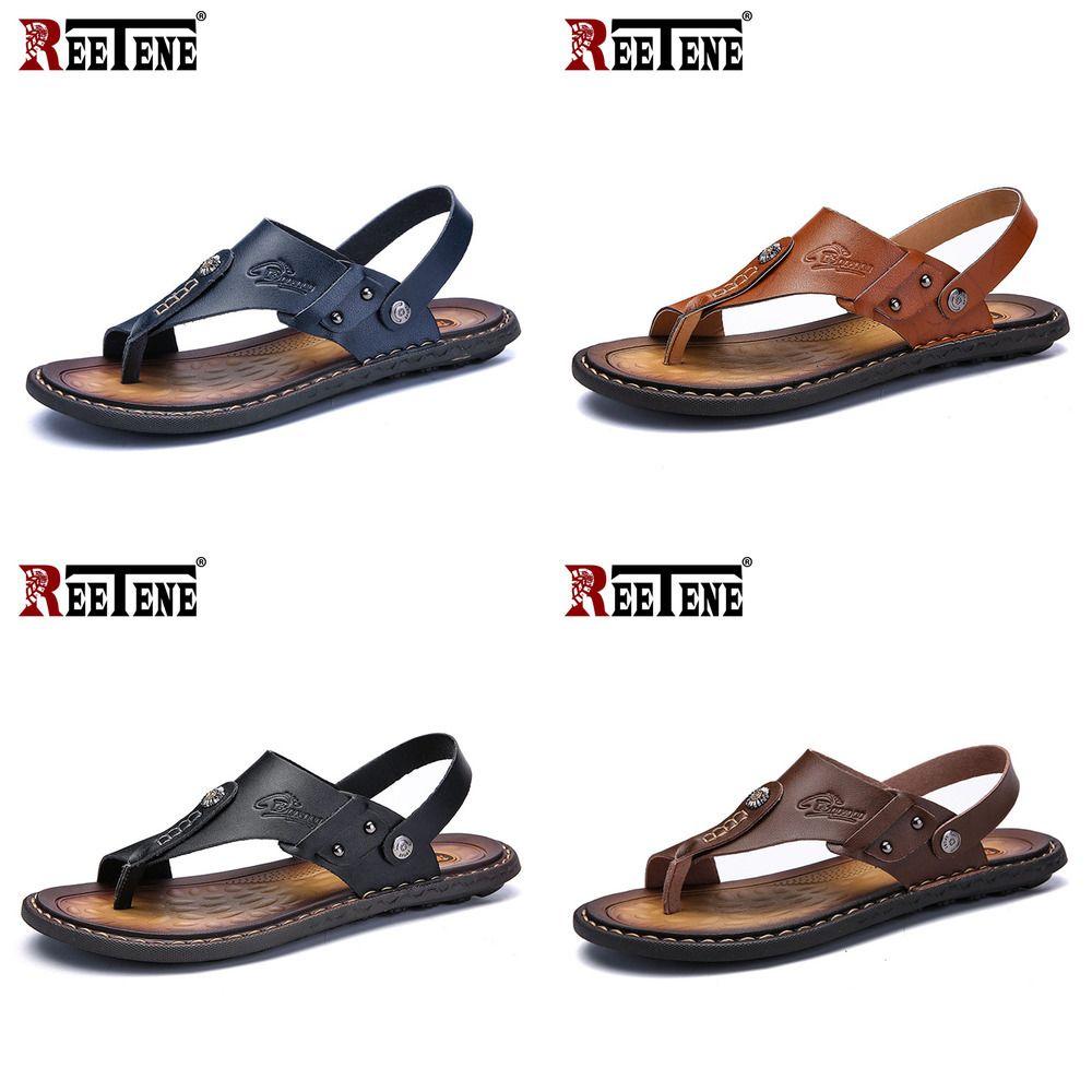 REETENE Sıcak Satış Erkekler'S Sandalet Gerçek Deri Erkek Yaz Ayakkabı Boş Terlik Flip-Flop Erkekler Rahat Ayakkabı Yumuşak Sandal