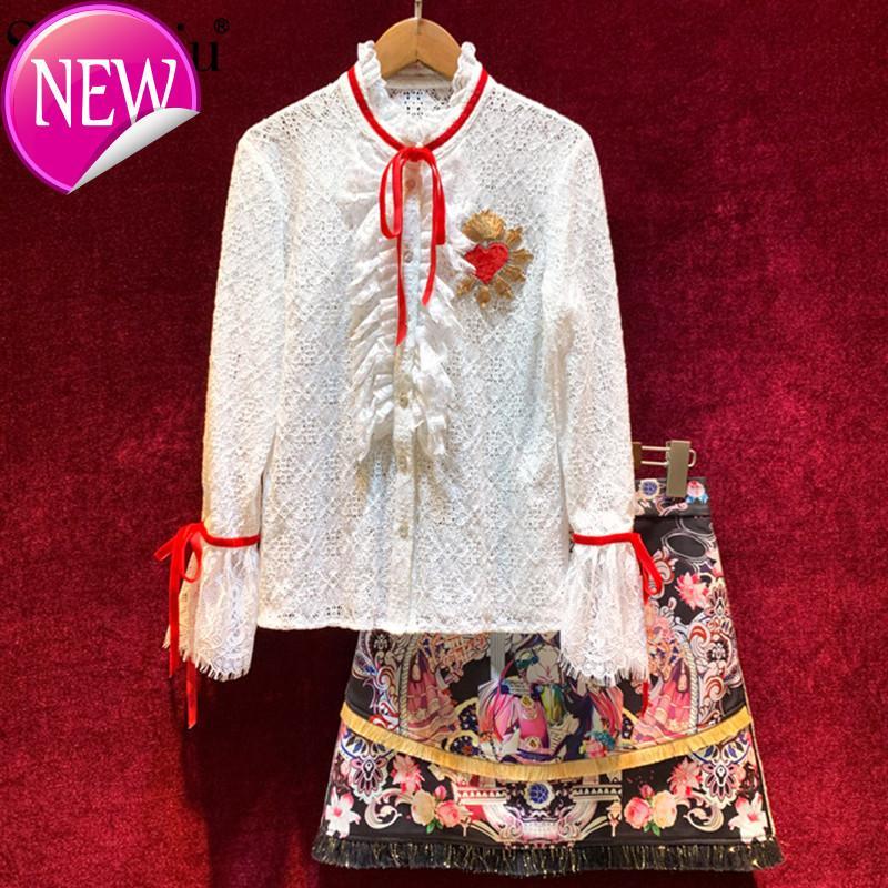 Роскошная летняя юбка женский костюм вышитая белая кружевная блузка + винтажная печать оборками юбка элегантный комплект из двух частей