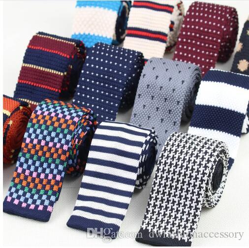 Men Knitted Knit Leisure Striped Ties Fashion Skinny Narrow Slim Neck Ties For Men Skinny Woven Designer Cravat No.1-20