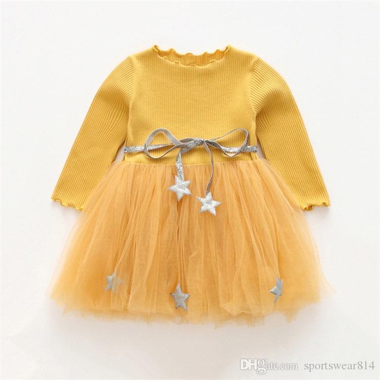 Maglia Mesh Autunno stile casuale delle neonate Vestito per bambini vestiti di cotone una linea di abiti principessa festa di compleanno