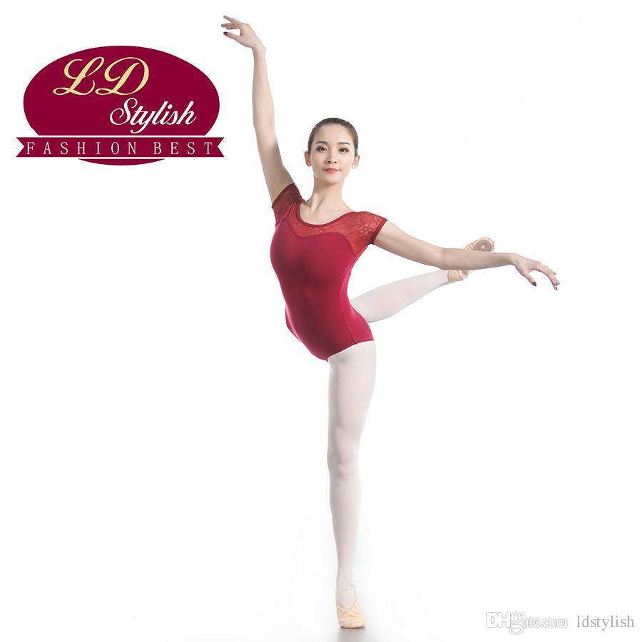 Adulti manica corta tuta Balletto della prova pratica di donne ballano vestiti Ginnastica Nuoto usura di ballo vestiti di ballo di balletto Body
