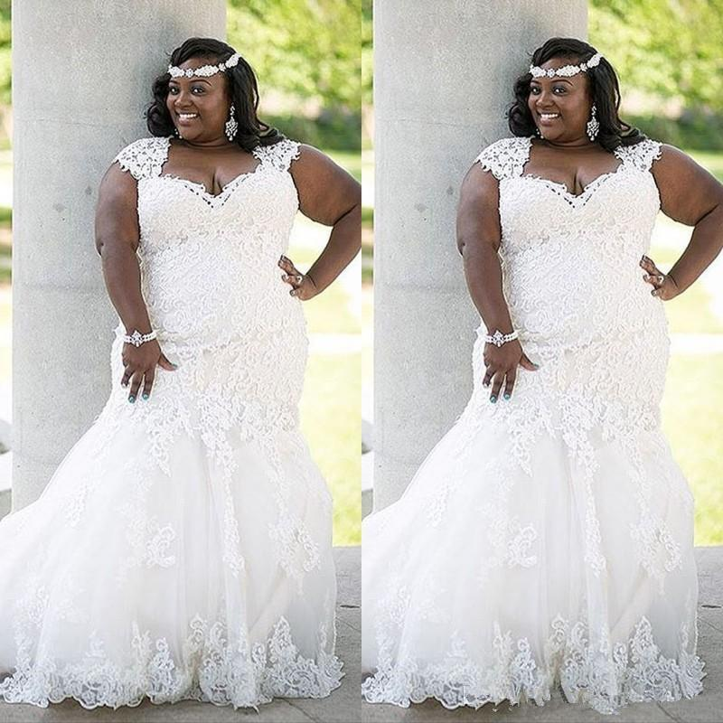 Atemberaubende African Lace Brautkleid Plus Size Land 2020 elegante Nixe Sexy Brautkleider Braut Kleid Kurvige Brides