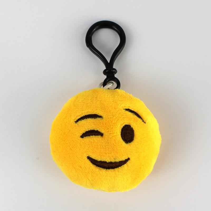 2020 Cartoon Emoticon Funny Pendant Key Chain Plush Expression Smiley Mobile Phone Pendant Accessories PP Cotton Children's Toy Plush Doll