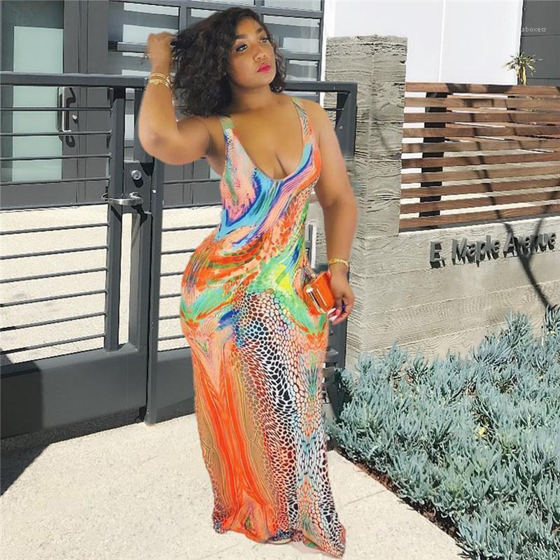 Diseñador se viste con cuello redondo atractiva delgada Maxi vestidos de mujer sin mangas Vestidos Serpentina floral para mujer Impreso verano