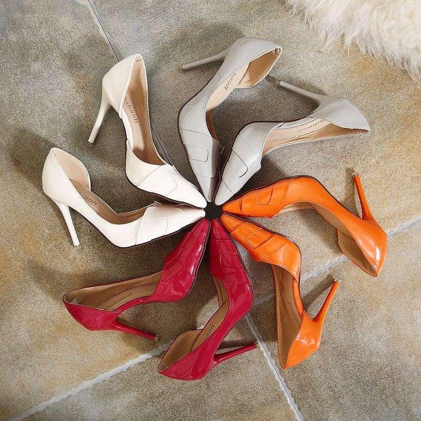 lado de la punta de naranja H zapatos vacíos 2015 otoño nueva multa de cuero verde con zapatos de tacón alto de la boca baja del zapato de las mujeres