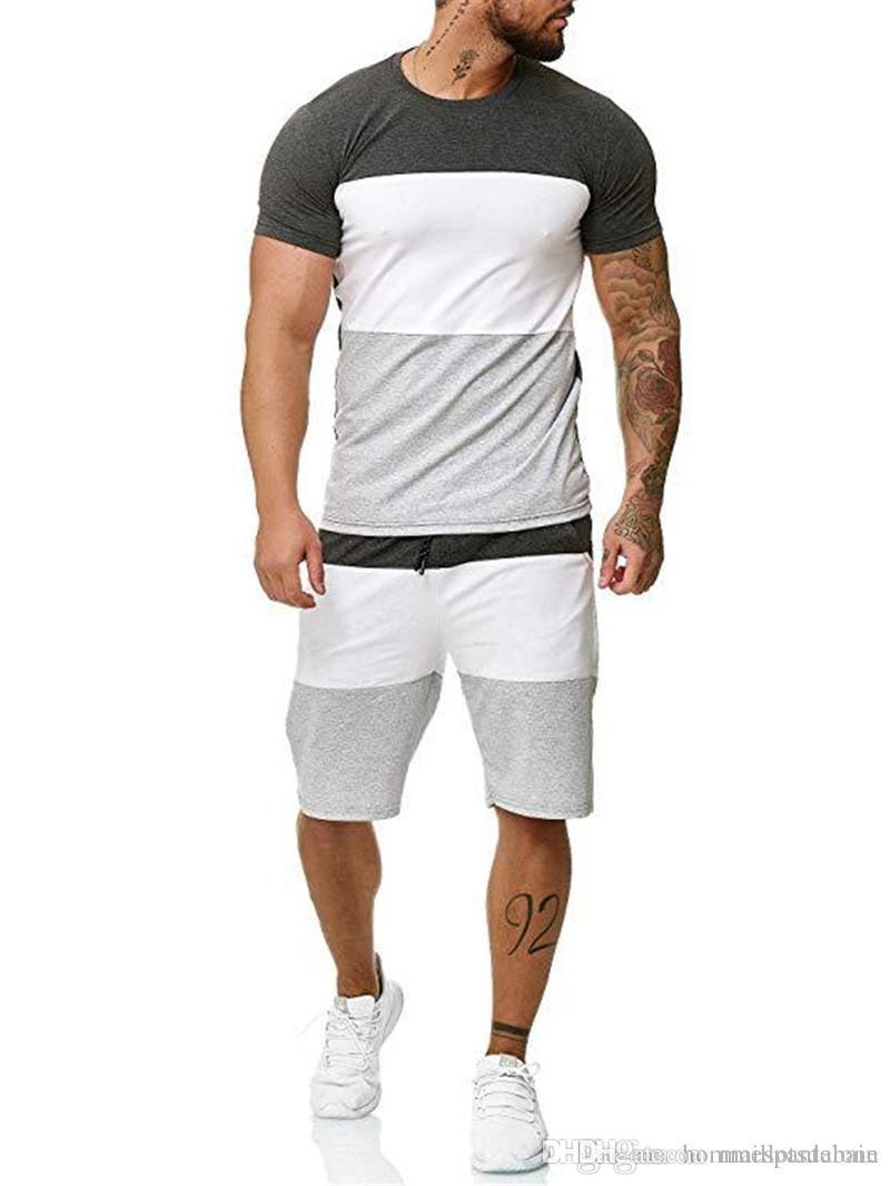 Sommer Designer Male Panelled Tracksuits Mode Rundhalsausschnitt Sport 2PC Set Gelegenheits Mans Rennen Kleidung mit Tasche