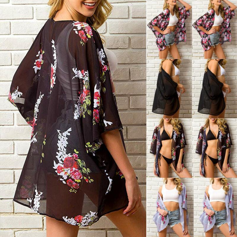 Womens Floral Chiffon Shawl Kimono Cardigan Top Beach Cover Up Blouse Vest Shirt