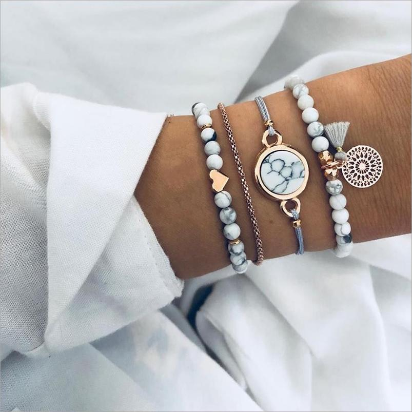 Bracciali di gioielli di moda Set 4pcs / set Bianco Bianco Brandello Strandini Gold Heart Accessorio nappa Casella di fascino Braccialetto con pietra rotonda