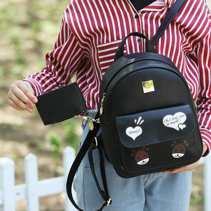 Pretty2019 Twinset Woman Child And Mother Both Shoulders Season Printing Kitty Backpack Travel The Book Package