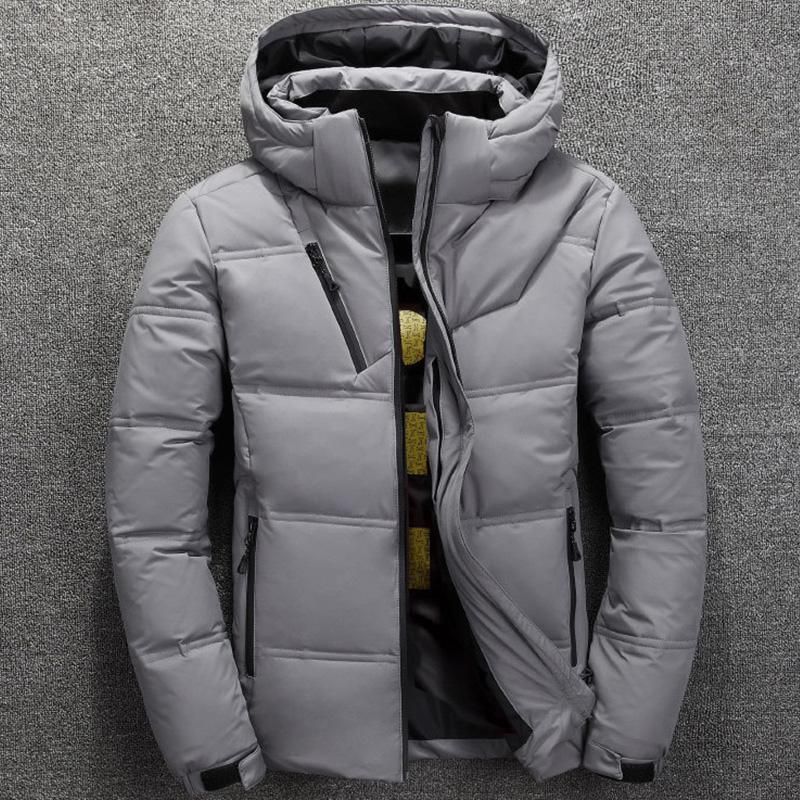 Мода 2020 Зимняя куртка мужская белая утка вниз куртки мужчины Тепловое Толстые пальто снег Красный Черный Parka Мужской Теплый Outwear F111404