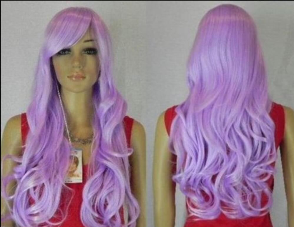 WIG FREE SHIPPING Résistant à la chaleur Chaude Party hairNoble perruques pour femmes long violet bouclé + filet