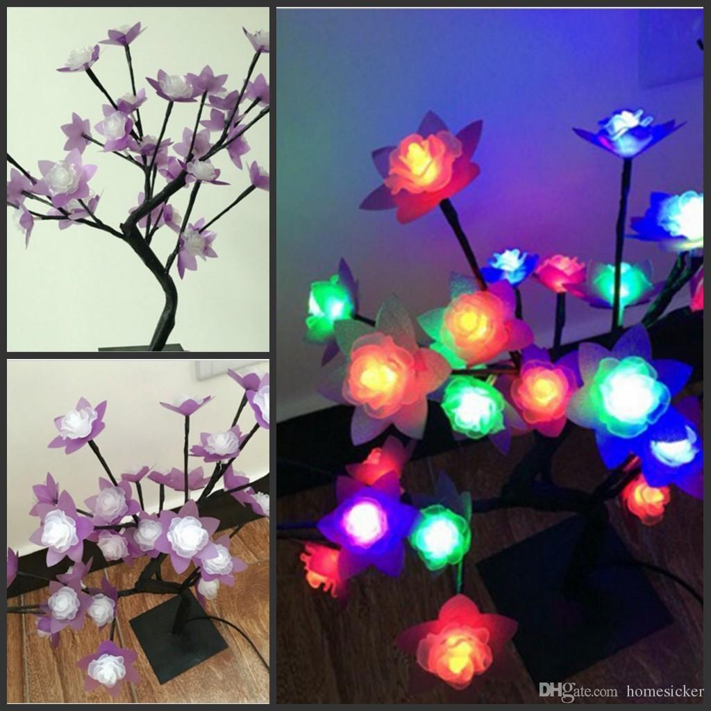 Crystal Rose Blossom 32 LED lumière d'arbre Night Lights Table lampe de branches noires Éclairage de fête de Noël de mariage LED Fleurs lumières