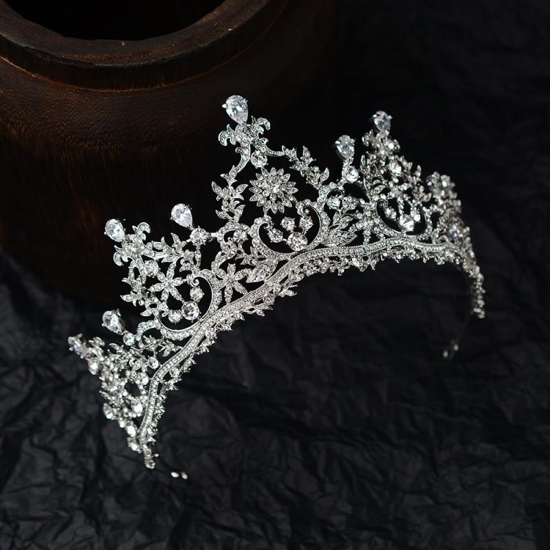 Luxury CZ Crystal Bridal Crown Wedding Tiaras Bridal Headpieces Wedding Jewelry Bridal Hair Accessory Headwear Hairpieces Silver
