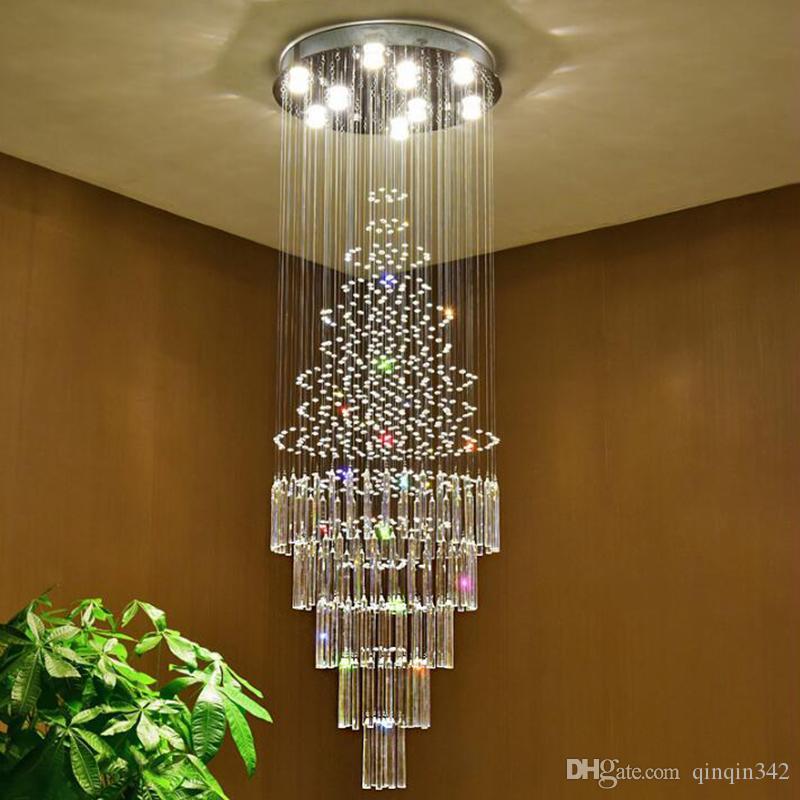 Le scale di cristallo Lampadari moderni Villa luce loft lampada luce decorazione domestica di cristallo lampadario illumina le lampade di lusso
