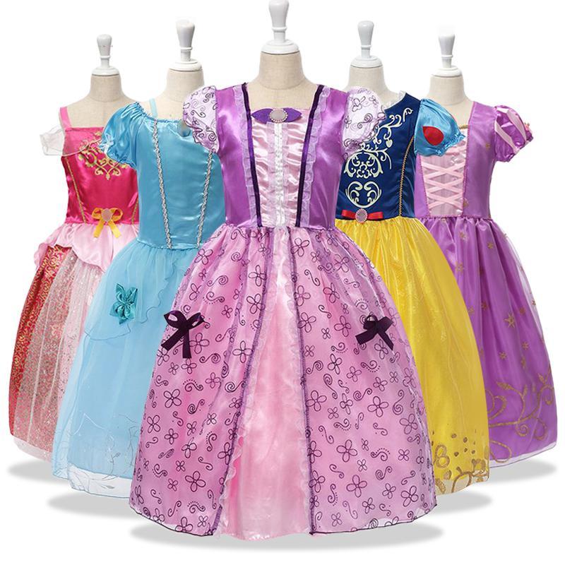 Filles Déguisements enfants Cindrella Cosplay Costume Blanche Neige Princesse Raiponce Aurora Belle Sleeping Beauty Party Sofia Robe Y200317