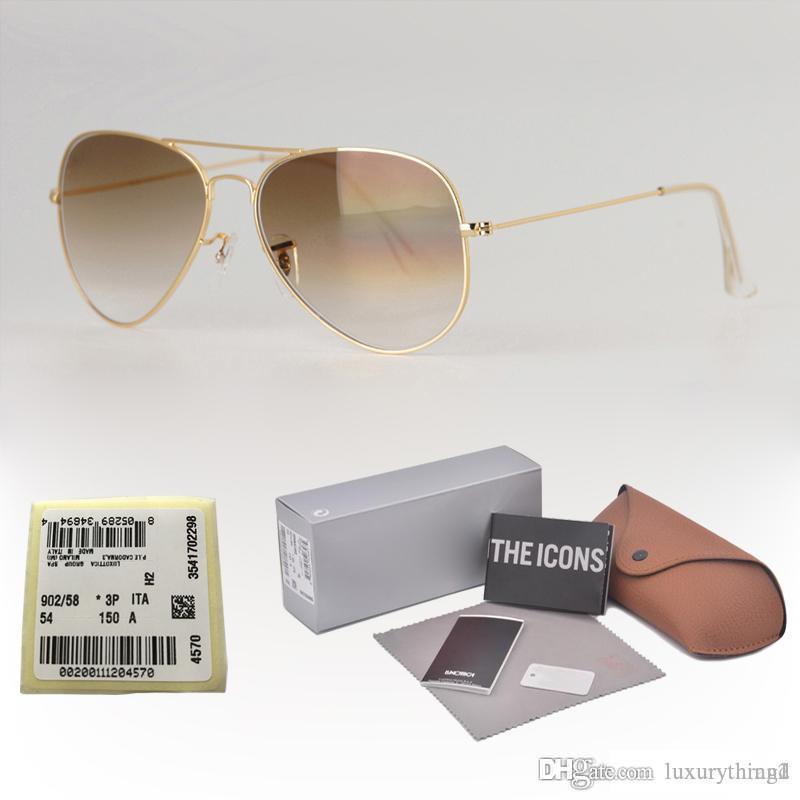 Qualité supérieure lentille gradient verre classique lunettes de soleil pilote hommes femmes vacances lunettes de soleil de mode avec étiquette et accessoires vente au détail