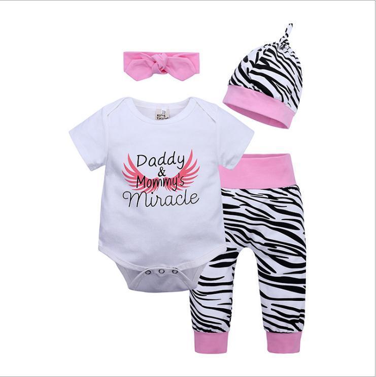 4 قطع الوليد الرضع طفل الفتيات رومبير قمم + السراويل + قبعة + عقال مجموعات ملابس الاطفال